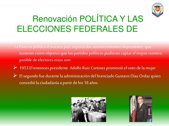 Renovación POLÍTICA Y LAS ELECCIONES FEDERALES DE
