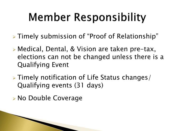 Member responsibility