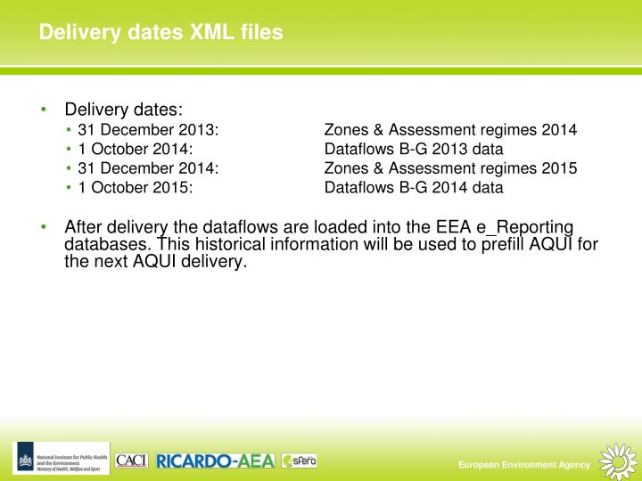 Delivery dates XML files