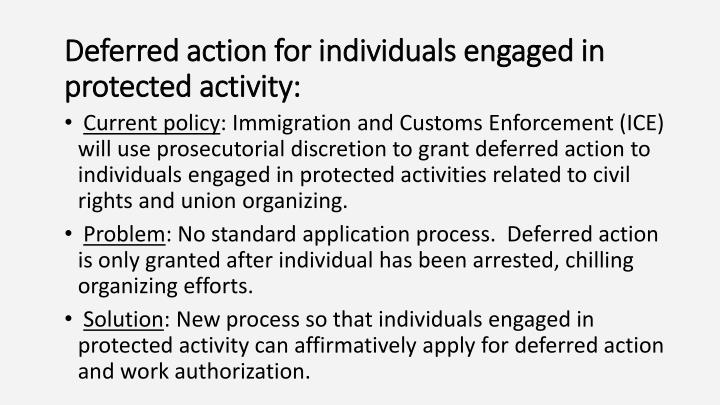 Deferred action for individuals engaged in protected activity: