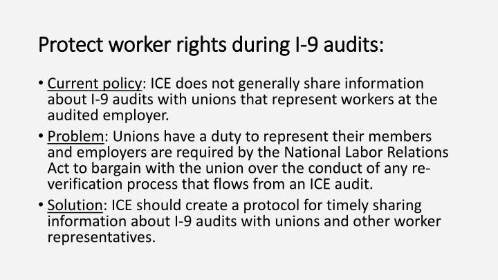 Protect worker rights during I-9 audits: