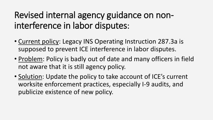 Revised internal agency guidance on non-interference in labor disputes