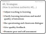 afl strategies how to achieve authentic afl