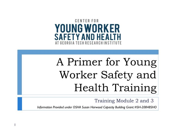 a primer for young worker safety and health training n.