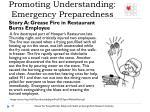 promoting understanding emergency preparedness