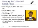 sharing work related experiences
