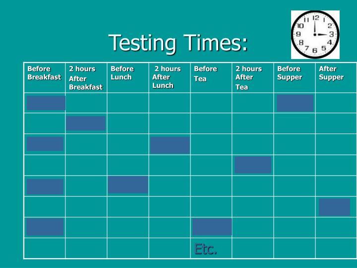 Testing Times: