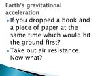 earth s gravitational acceleration
