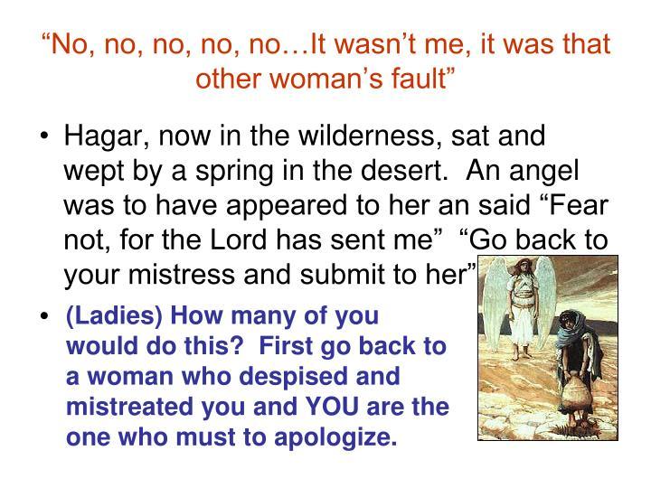 """""""No, no, no, no, no…It wasn't me, it was that other woman's fault"""""""