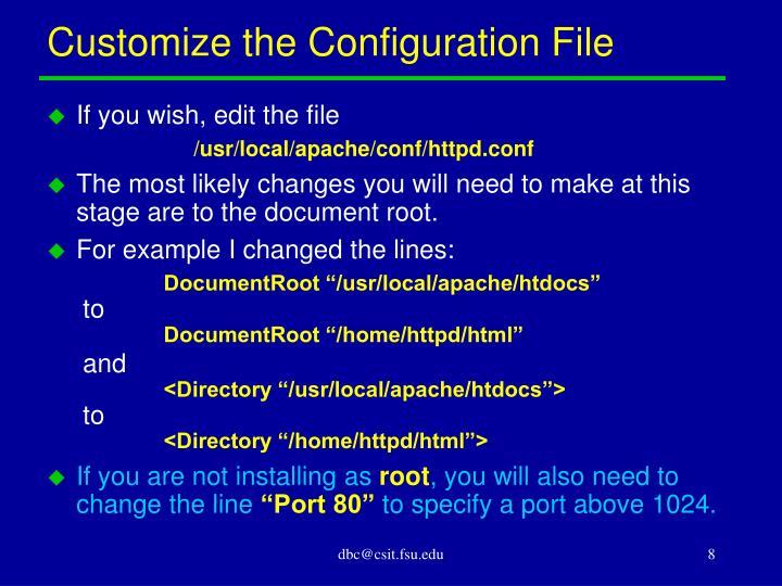 Customize the Configuration File