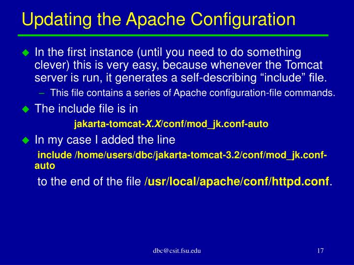 Updating the Apache Configuration