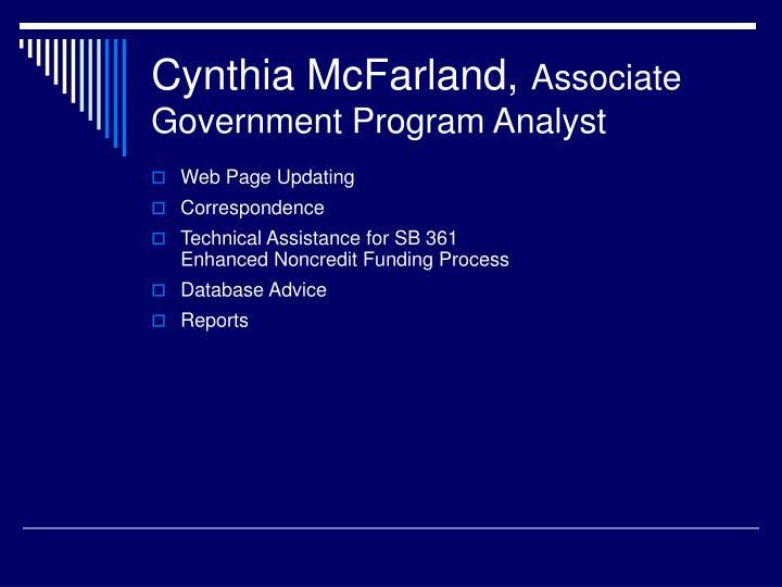 Cynthia McFarland,