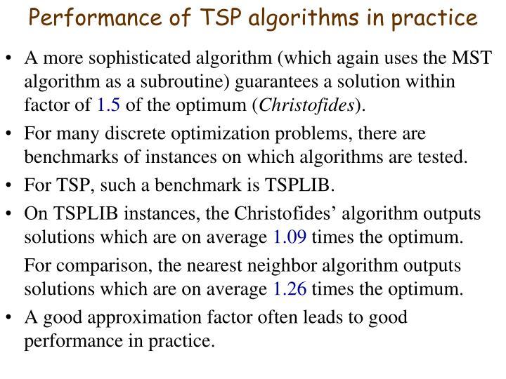 Performance of TSP algorithms in practice
