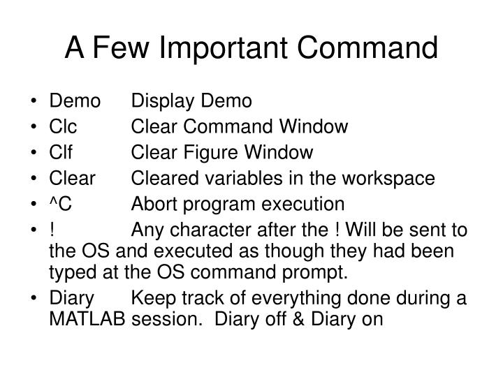 A Few Important Command