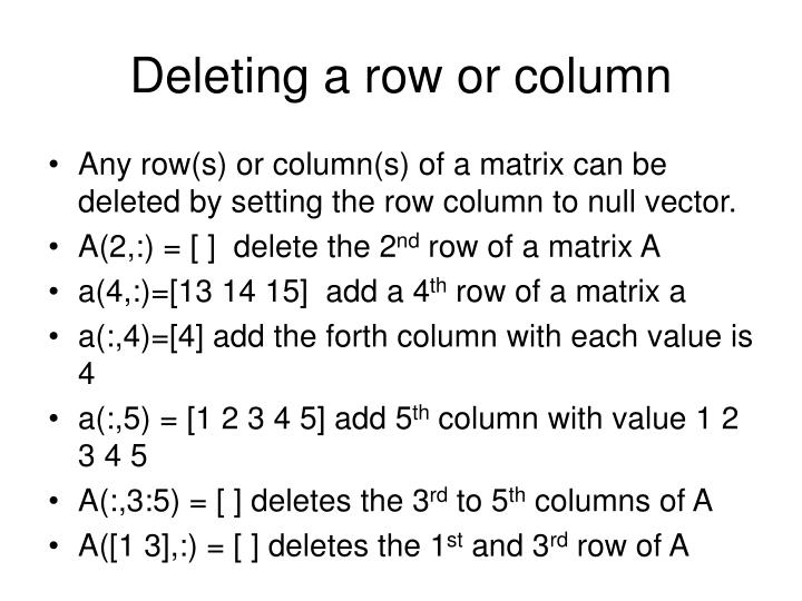 Deleting a row or column