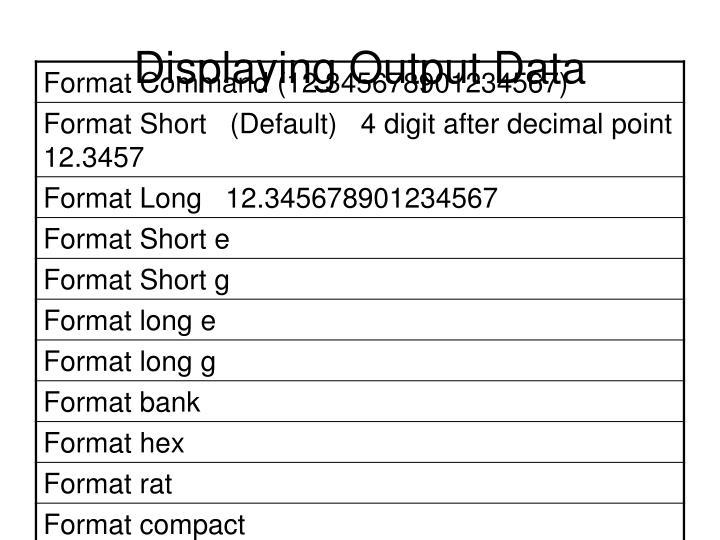 Displaying Output Data