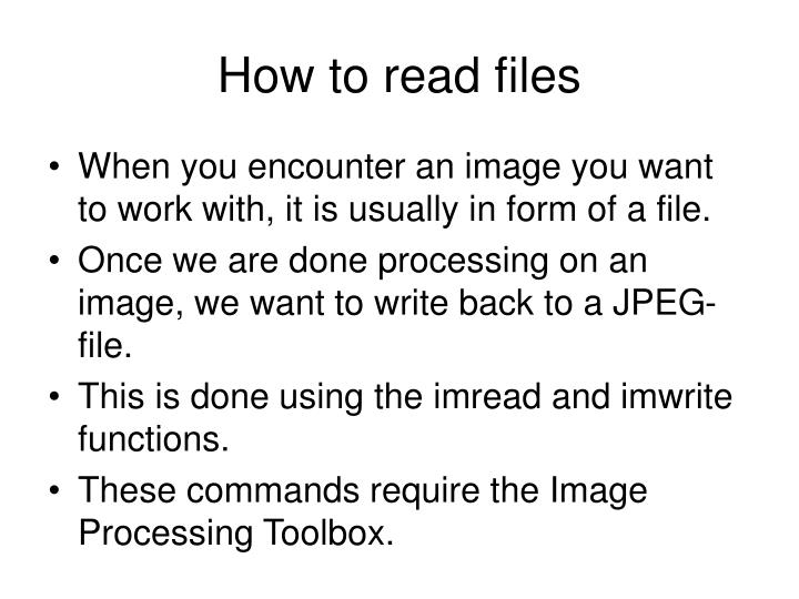 How to read files