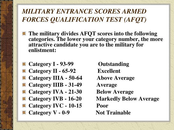 MILITARY ENTRANCE SCORES ARMED FORCES QUALIFICATION TEST AFQT