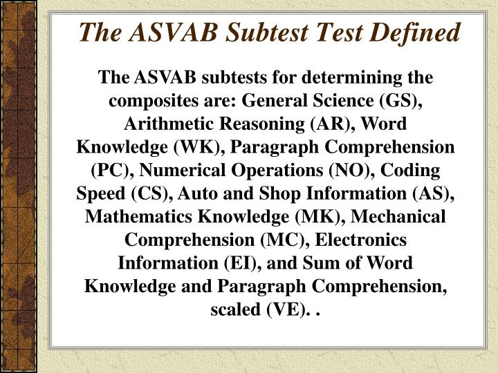Ppt The Asvab Armed Services Vocational Aptitude Battery