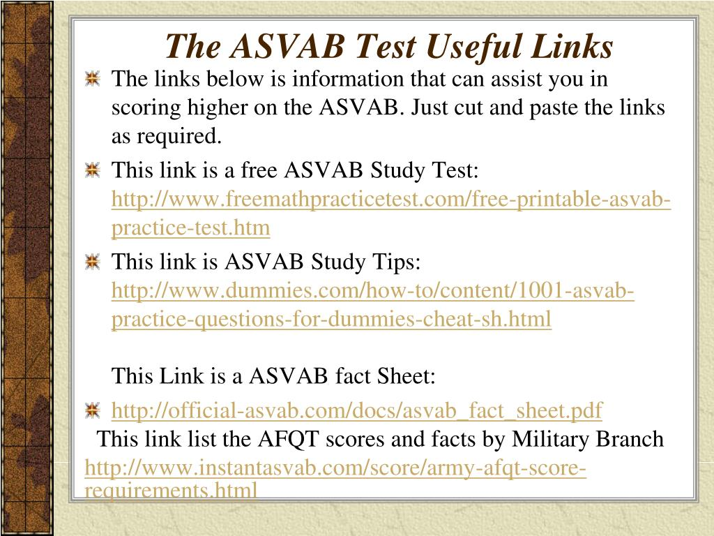 PPT - THE ASVAB Armed Services Vocational Aptitude Battery