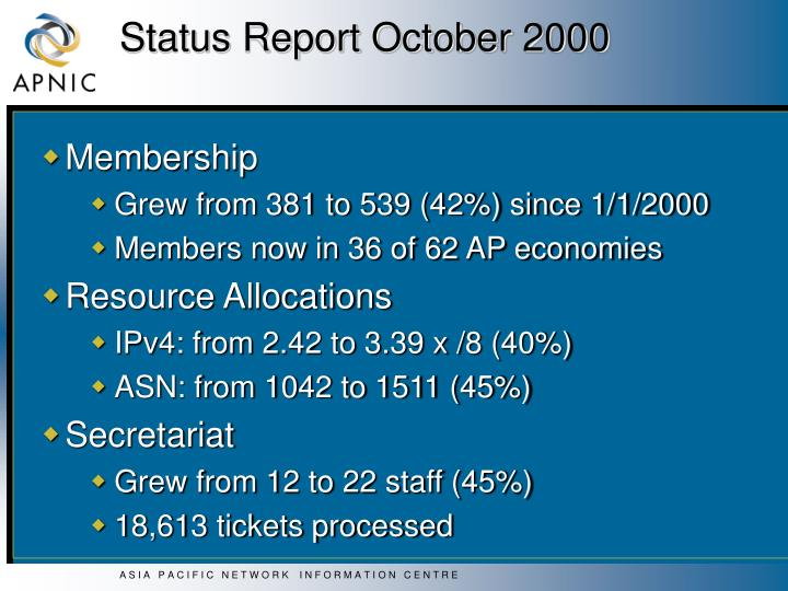 Status report october 20001
