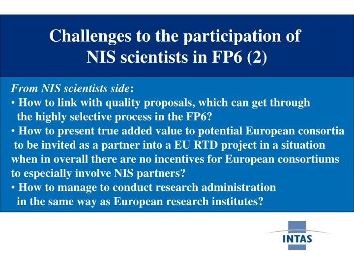 Challenges to the participation