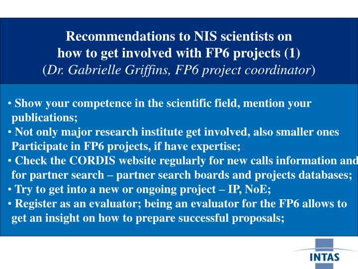 Recommendations to NIS scientists on