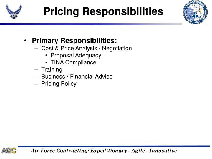 Pricing Responsibilities