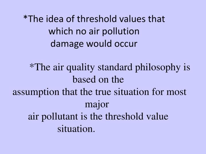 *The idea of threshold values that which no air pollution