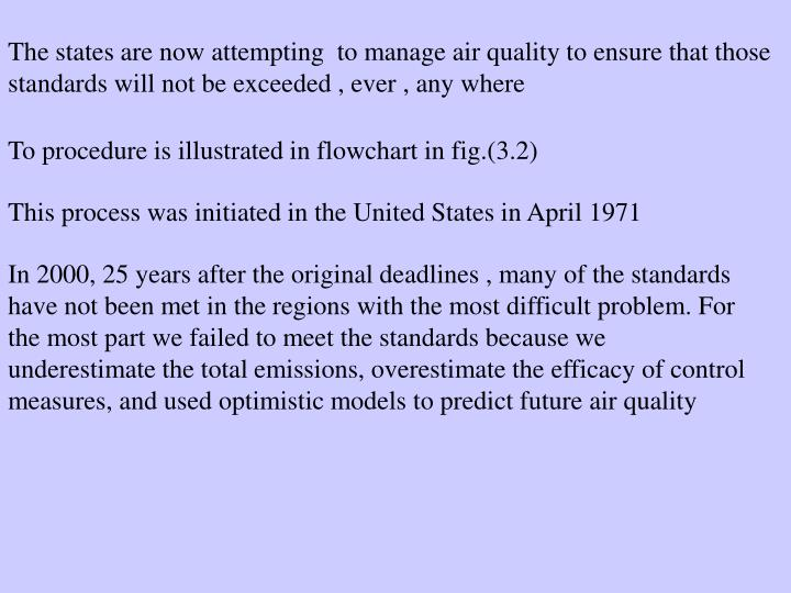 The states are now attempting  to manage air quality to ensure that those standards will not be exceeded , ever , any where