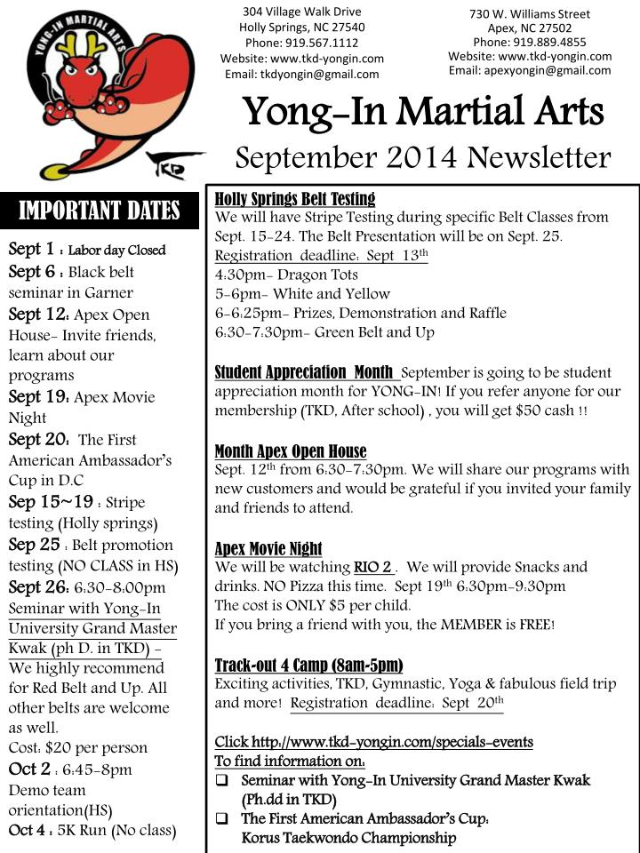 PPT - Yong-In Martial Arts September 2014 Newsletter