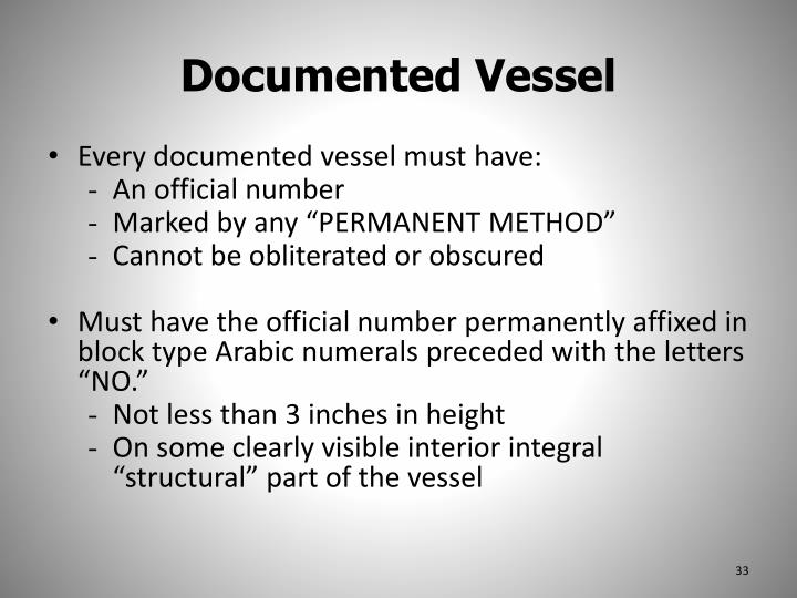 Documented Vessel