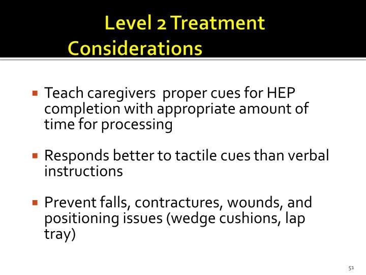 Level 2 Treatment Considerations