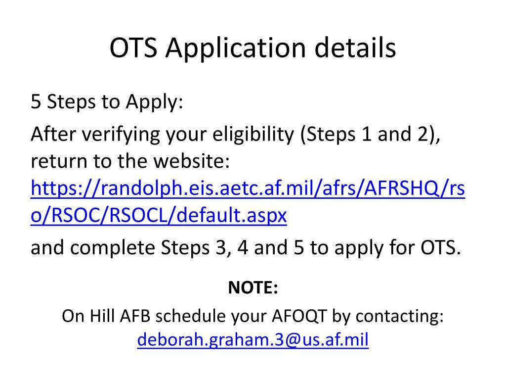 PPT OTS Officer Training School PowerPoint Presentation