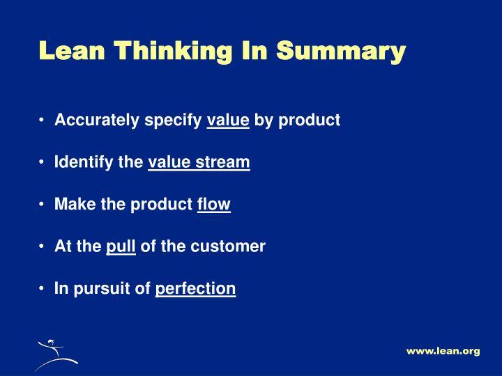 Lean Thinking In Summary
