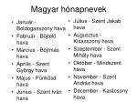 magyar h napnevek