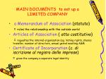 main documents to set up a limited company