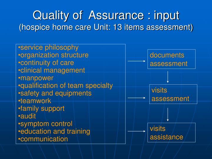 Quality of  Assurance : input