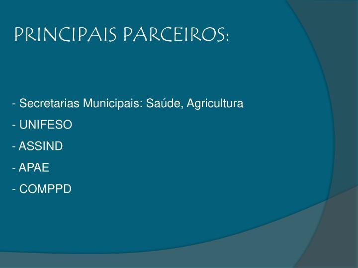 PRINCIPAIS PARCEIROS:
