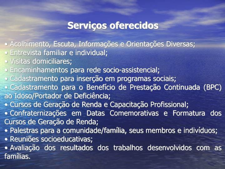 Serviços oferecidos