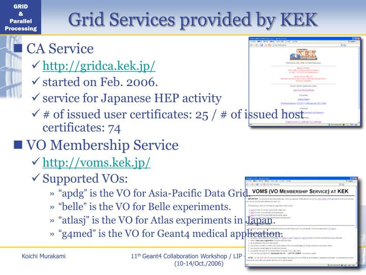 Grid Services provided by KEK