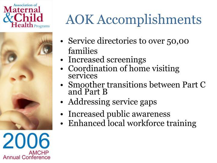AOK Accomplishments