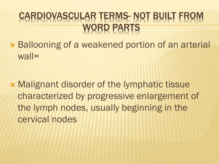 Ballooning of a weakened portion of an arterial wall=