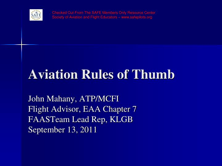 aviation rules of thumb