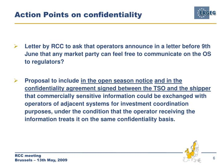Action Points on confidentiality