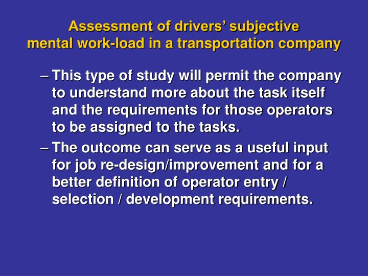 Assessment of drivers' subjective