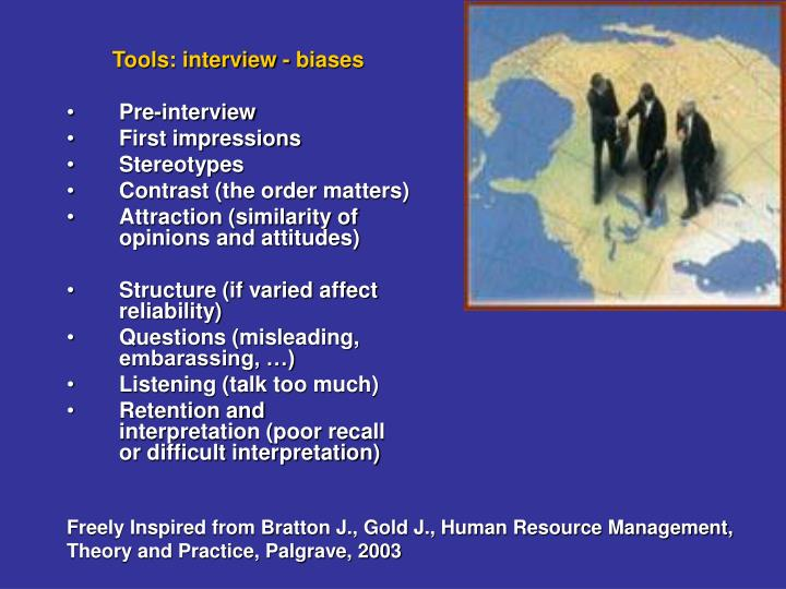 Tools: interview - biases