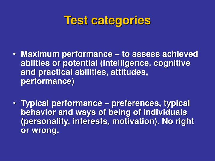 Test categories