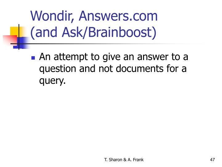Wondir, Answers.com