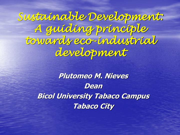sustainable development a guiding principle towards eco industrial development n.